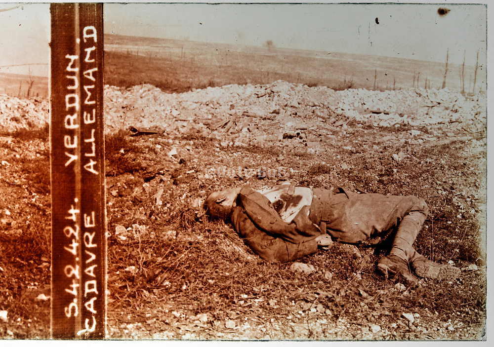 WW1 front trenches with dead german soldier