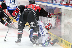 30.11.2014, Lanxess Arena, Köln, GER, DEL, Kölner Haie vs Schwenninger Wild Wings, 22. Runde, im Bild James Johnson (Koelner Haie) und am Boden liegend Morten Green (Schwenninger Wild Wings) // during Germans DEL Icehockey League 22nd round match between Kölner Haie and Schwenninger Wild Wings at the Lanxess Arena in Köln, Germany on 2014/11/30. EXPA Pictures © 2014, PhotoCredit: EXPA/ Eibner-Pressefoto/ Fusswinkel<br /> <br /> *****ATTENTION - OUT of GER*****