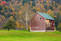 Red barn in autumn near Rochester Vermont USA