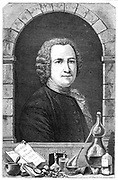Guillaume Francois Ruelle (1703-70) French chemist, Lavoisier's teacher. Professor (Demonstrateur) at the Jardin du Roi. Did much to popularise chemistry. Engraving published Paris 1874