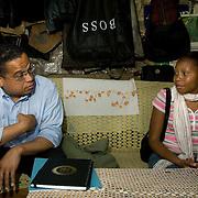 Congressman Keith Ellison visits with Kenyan families in Nairobi's Kibera slum.