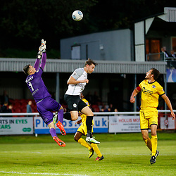 APRIL 1:  Dover Athletic against Bromley in Conference Premier at Crabble Stadium in Dover, England. Dover's forward Ryan Bird forces Bromely's goalkeeper David Gregory to come out for the ball.  (Photo by Matt Bristow/mattbristow.net)