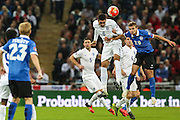 England's Chris Smalling heads the ball clear during the UEFA European 2016 Qualifier match between England and Estonia at Wembley Stadium, London, England on 9 October 2015. Photo by Shane Healey.