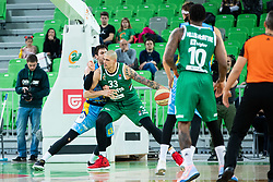 Maik Zirbes of KK Cedevita Olimpija and Aleksandar Lazic KK Sixt Primorska during basketball match between KK Cedevita Olimpija and KK Sixt Primorska in Round #17 of ABA League 2019/20, on January 26, 2020 in Arena Stozice, Ljubljana, Slovenia. Photo By Grega Valancic / Sportida