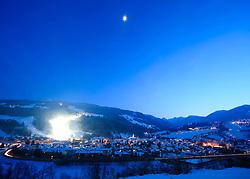 18.01.2013, Schladming, AUT, FIS Weltmeisterschaften Ski Alpin, Schladming 2013, Vorberichte, im Bild die Stadt Schladming, Rohrmoos-Untertal und die Planai zur blauen Stunde am 18.01.2013 // the town of Schladming, Rohrmoos-Untertal and the Planai in the blue hour on 2013/01/18, preview to the FIS Alpine World Ski Championships 2013 at Schladming, Austria on 2013/01/18. EXPA Pictures © 2013, PhotoCredit: EXPA/ Martin Huber