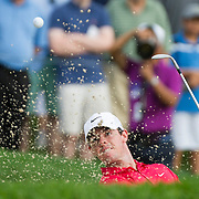 August 21, 2014:  Rory McIlroy (NIR) sprays sand as he hits out of a bunker in early action during the first round of The Barclays Fed Ex  Championship at Ridgewood Country Club in Paramus, NJ. Mandatory Credit:  Kostas Lymperopoulos/csm  (Credit Image: © Kostas Lymperopoulos/Cal Sport Media)