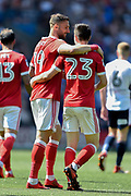 Nottingham Forest forward Apostolos Vellios (39) celebrates with Nottingham Forest forward Joe Lolley (23) during the EFL Sky Bet Championship match between Bolton Wanderers and Nottingham Forest at the Macron Stadium, Bolton, England on 6 May 2018. Picture by Jon Hobley.