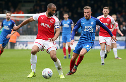 George Cooper of Peterborough United closes down Nathan Pond of Fleetwood Town - Mandatory by-line: Joe Dent/JMP - 28/04/2018 - FOOTBALL - ABAX Stadium - Peterborough, England - Peterborough United v Fleetwood Town - Sky Bet League One