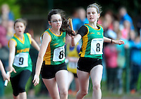 20 Aug 2016:  Petra Harten, right, Meath, hands the baton to Jennifer Nugent who runs the final leg of Girls U14 4x100 Relay.   2016 Community Games National Festival 2016.  Athlone Institute of Technology, Athlone, Co. Westmeath. Picture: Caroline Quinn