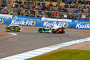 Reece Somerfield(GBR) Privateer & Nathan Heathcote(GBR) Century Motorsport collide at the hairpin and face the opposite direction during the Millers Oil Ginetta GT4 Supercup Championship at Knockhill Racing Circuit, Dunfermline, Scotland on 15 September 2019.