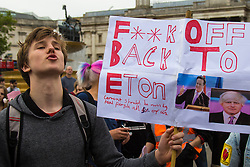 London, May 27th 2015. Protesters demonstrate against the Tory's ongoing campaign of austerity on the day the Queen delivered her speech to Parliament