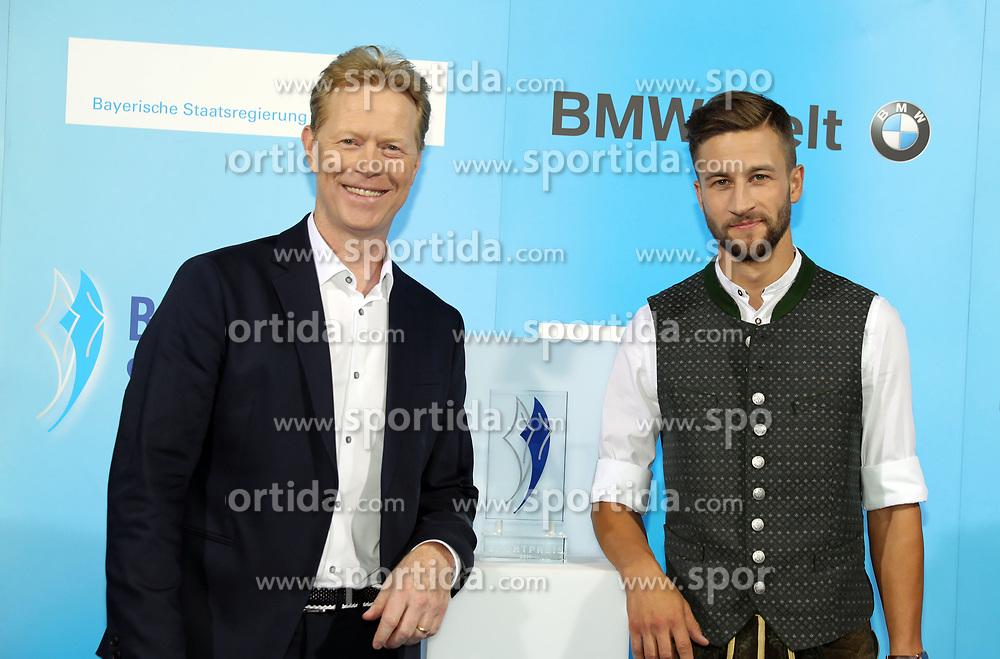 13.07.2019, BMW Welt, Muenchen, GER, Bayerischer Sportpreis Verleihung, im Bild Dieter Thoma und Markus Eisenbichler // during the Bavarian Sports Award at the BMW Welt in Muenchen, Germany on 2019/07/13. EXPA Pictures © 2019, PhotoCredit: EXPA/ SM<br /> <br /> *****ATTENTION - OUT of GER*****