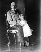 Franz Joseph I (1830-1916), Emperor of Austria and King of Hungary 1848-1916, with his great-great-nephew Otto von Habsburg  (born 1912)
