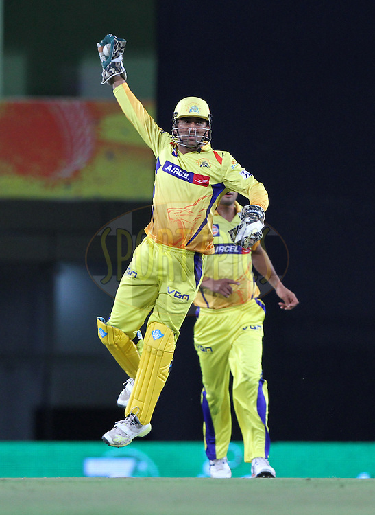 Robin Uthappa of the Kolkata Knight Riders caught out by MS Dhoni captain of The Chennai Superkings during match 21 of the Pepsi Indian Premier League Season 2014 between the Chennai Superkings and the Kolkata Knight Riders  held at the JSCA International Cricket Stadium, Ranch, India on the 2nd May  2014<br /> <br /> Photo by Deepak Malik / IPL / SPORTZPICS<br /> <br /> <br /> <br /> Image use subject to terms and conditions which can be found here:  http://sportzpics.photoshelter.com/gallery/Pepsi-IPL-Image-terms-and-conditions/G00004VW1IVJ.gB0/C0000TScjhBM6ikg