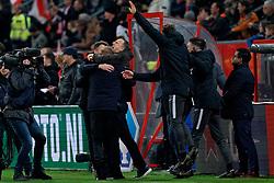 Coach John van den Brom # of FC Utrecht celebrate during the semi final KNVB Cup between FC Utrecht and Ajax Amsterdam at Stadion Nieuw Galgenwaard on March 04, 2020 in Amsterdam, Netherlands