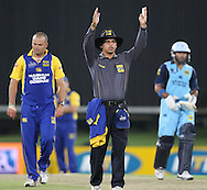 CENTURION, SOUTH AFRICA - 9  January 2009, A dejected Charl Langeveldt looks down as the umpire gives Gulam Bodi his second 6 in a row during the MTN Domestic Championship Semi Final match between The Nashua Titans and The Nashua Cape Cobras held at SuperSport Park, Centurion, South Africa..Photo by Barry Aldworth/SPORTZPICS
