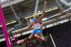 London, 2017 August 06. Yarisley Silva, Cuba in the in the women's pole-vault final on day three of the IAAF London 2017 world Championships at the London Stadium. © Paul Davey.