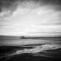 Newport Pier on Balboa Peninsula in Newport Beach Orange County Southern California. High resolution picture is black and white