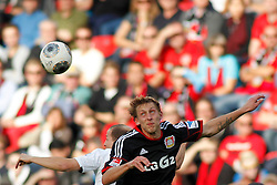 28.09.2013, BayArena, Leverkusen, GER, 1. FBL, Bayer 04 Leverkusen vs Hannover 96, 7. Runde, im Bild Kopfballduell mit Stefan Kiessling #11 (Bayer 04 Leverkusen). Aktion, Action // during the German Bundesliga 7th round match between Bayer 04 Leverkusen and Hannover at the BayArena, Leverkusen, Germany on 2013/09/28. EXPA Pictures © 2013, PhotoCredit: EXPA/ Eibner/ Grimme<br /> <br /> ***** ATTENTION - OUT OF GER *****