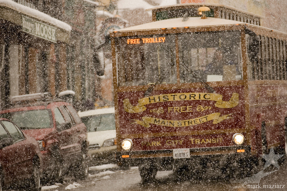 Main Street Trolley on snowy day on Main Street, Park City, Utah