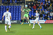 Forest Green Rovers Mark Ellis(5) heads the ball during the Vanarama National League match between Tranmere Rovers and Forest Green Rovers at Prenton Park, Birkenhead, England on 11 April 2017. Photo by Shane Healey.