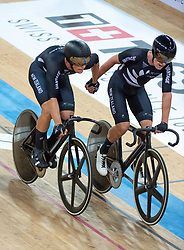 January 27, 2019 - Hong Kong, Hong Kong SAR, China - The New Zealand team of Thomas Sexton (R) and Campbell Stewart (L)wins the Mens Madison Final.UCI Track Cycling World Cup Hong Kong 2019, Qualifiers Leg VI at the Hong Kong Velodrome in Tseung Kwan O ,Kowloon (Credit Image: © Jayne Russell/ZUMA Wire)