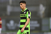 Forest Green Rovers Olly Mehew(29) during the Gloucestershire Senior Cup match between Forest Green Rovers and U23 Bristol City at the New Lawn, Forest Green, United Kingdom on 9 April 2018. Picture by Shane Healey.