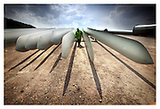 TURBINE BLADES READY FOR CONSTRUCTION AT BLACK LAW WIND FARM, SCOTLAND.