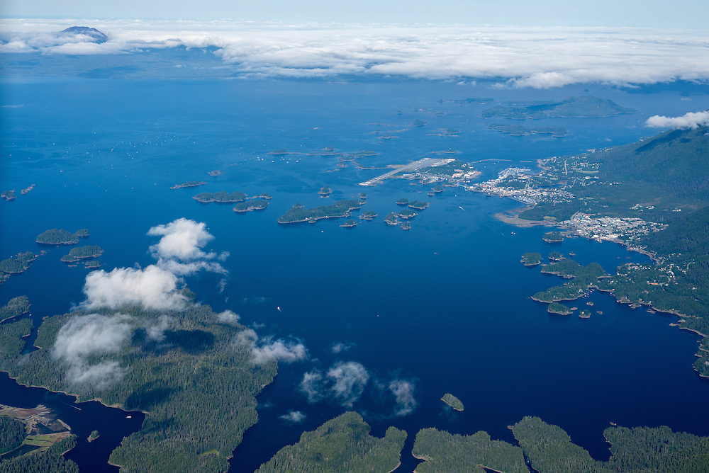 Aerial view of Baranof Island, including the city of Sitka, in Southeast Alaska.