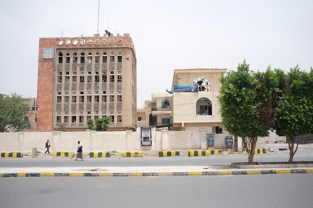 Turmoil in Yemen: ASIA, YEMEN, SANA, 21.06.2011: Destroyed headquarter of Yemen News Agency (SABA) in central Sana. SABA was attacked by anti-government protesters in a recent burst of violence.