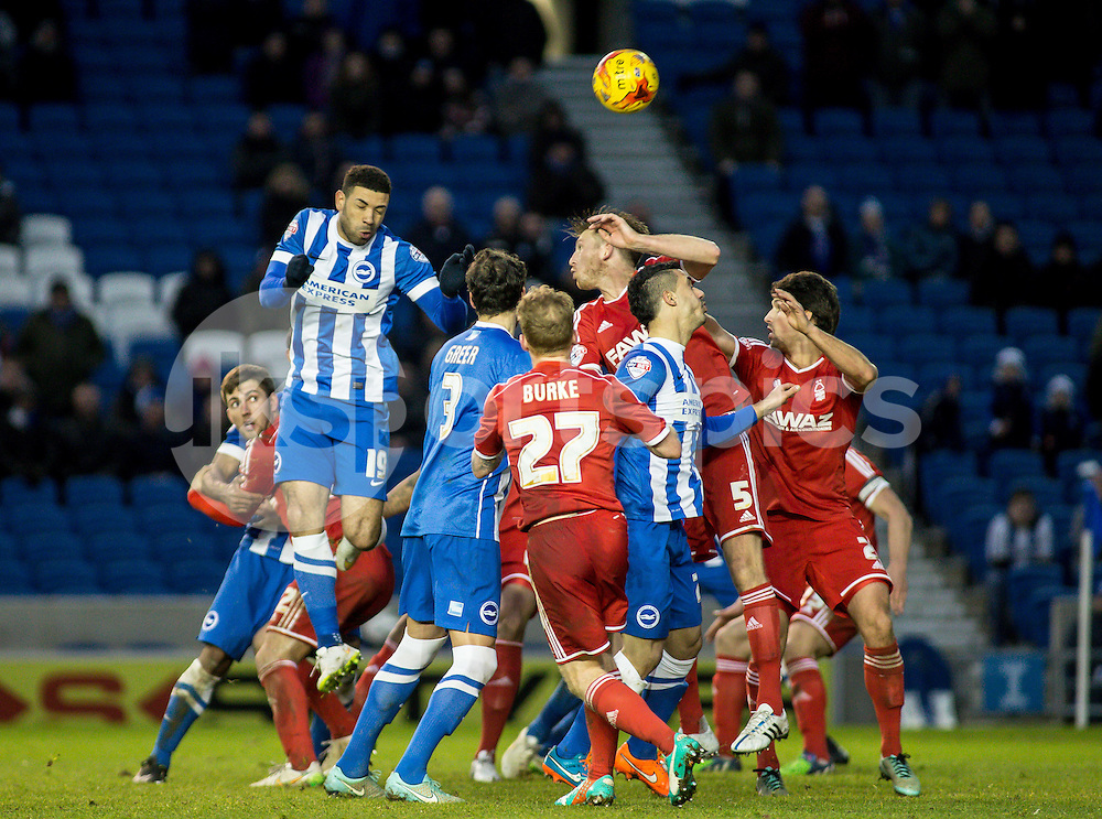 Leon Best of Brighton rises to head during the Sky Bet Championship match between Brighton and Hove Albion and Nottingham Forest at the AMEX Stadium, Brighton, England on 7 February 2015. Photo by Liam McAvoy.