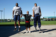 FEB 6 2007: Offensive linemen Levi Brown and Ryan Harris work out for the NFL combine with Coach Tom Shaw at his facilities in Disney's Wide World of Sports in Orlando Florida. Photo by Tom Hauck.
