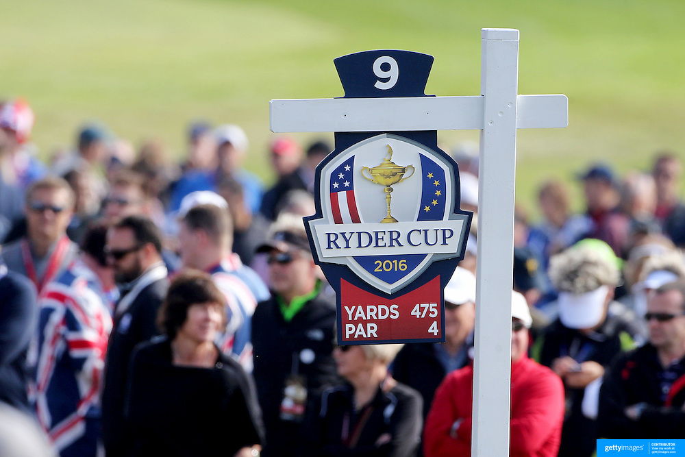 Ryder Cup 2016. Day One. A Ryder Cup information sign on the ninth hole during the Ryder Cup competition at the Hazeltine National Golf Club on September 30, 2016 in Chaska, Minnesota.  (Photo by Tim Clayton/Corbis via Getty Images)