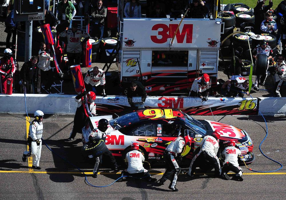 Feb 27, 2011; Avondale, AZ, USA; NASCAR Sprint Cup Series driver Greg Biffle (16) comes in for a pit stop during the Subway Fresh Fit 500 at Phoenix International Raceway. Mandatory Credit: Jennifer Stewart-US PRESSWIRE