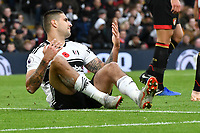 Football - 2018 / 2019 Premier League - Fulham vs. AFC Bournemouth<br /> <br /> Aleksandar Mitrovic of Fulham on the floor after a cross goes awry , at Craven Cottage.<br /> <br /> COLORSPORT/WINSTON BYNORTH