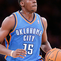 09 March 2014: Oklahoma City Thunder point guard Reggie Jackson (15) brings the ball up court during the Los Angeles Lakers 114-110 victory over the Oklahoma City Thunder at the Staples Center, Los Angeles, California, USA.