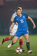 Elise Bussaglia (France) passes the ball during the International Friendly match between England Women and France Women at the Keepmoat Stadium, Doncaster, England on 21 October 2016. Photo by Mark P Doherty.