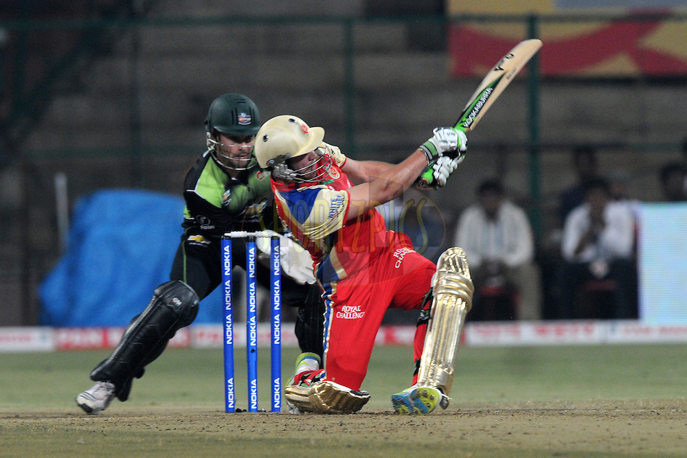 AB de Villiers of Royal Challengers Bangalore bats during match 1 of the NOKIA Champions League T20 ( CLT20 )between the Royal Challengers Bangalore and the Warriors held at the  M.Chinnaswamy Stadium in Bangalore , Karnataka, India on the 23rd September 2011..Photo by Pal Pillai/BCCI/SPORTZPICS
