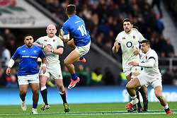 November 25, 2017 - London, England, United Kingdom - England's Dan Cole, Charlie Ewels and Jonny May watch Tim Nanai-Williams of Samoa catch the drop out during Old Mutual Wealth Series between England against Samoa at Twickenham stadium , London on 25 Nov 2017  (Credit Image: © Kieran Galvin/NurPhoto via ZUMA Press)