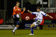 Luke Wilkinson of Luton Town and Daniel Nardiello of Bury battle for the ball during the The FA Cup match at Kenilworth Road, Luton<br /> Picture by David Horn/Focus Images Ltd +44 7545 970036<br /> 16/12/2014