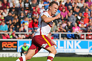 Bradford City defender Tony McMahon celebrates scoring the opening goal (0-1) during the EFL Sky Bet League 1 match between Northampton Town and Bradford City at Sixfields Stadium, Northampton, England on 23 September 2017. Photo by Aaron  Lupton.