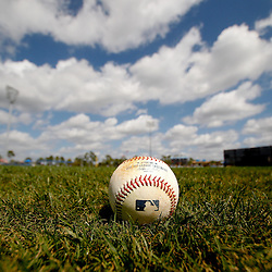 March 8, 2011; Port Charlotte, FL, USA; A detailed view of a baseball on the field before a spring training exhibition game between the Toronto Blue Jays and the Tampa Bay Rays at Charlotte Sports Park.   Mandatory Credit: Derick E. Hingle