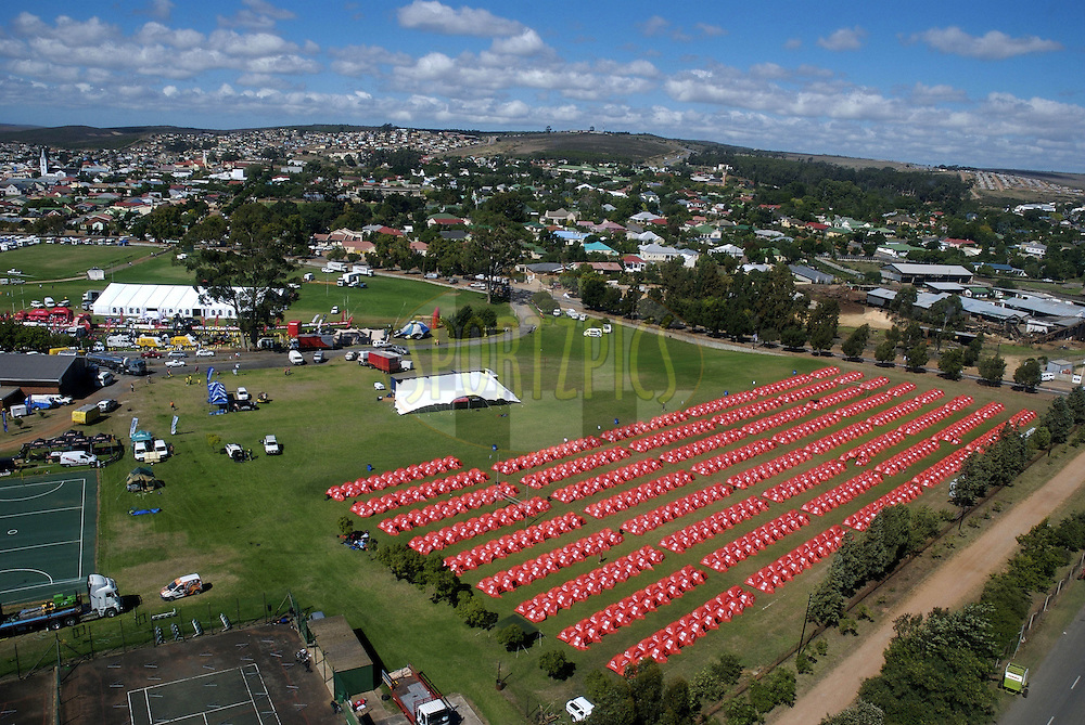 WESTERN CAPE, SOUTH AFRICA -  31 March 2008, Arial view of tented village during stage three of the 2008 Absa Cape Epic Mountain Bike stage race from Calitzdorp Spa.to Langenhoven High School in Riversdale, Western Cape, South Africa..Photo by Neil Gardiner/SPORTZPICS