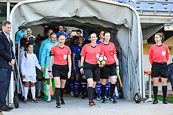 Referees and the Teams prior women football match between National teams of Slovenia and Iceland in 2019 FIFA Women's World Cup qualification, on April 06, 2018 in Sportni park Lendava, Lendava, Slovenia. Photo by Mario Horvat / Sportida