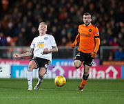 30th November 2018, Tannadice Park, Dundee, Scotland; Scottish Championship football, Dundee United versus Ayr United; Robbie Crawford of Ayr United and Paul McMullan of Dundee United