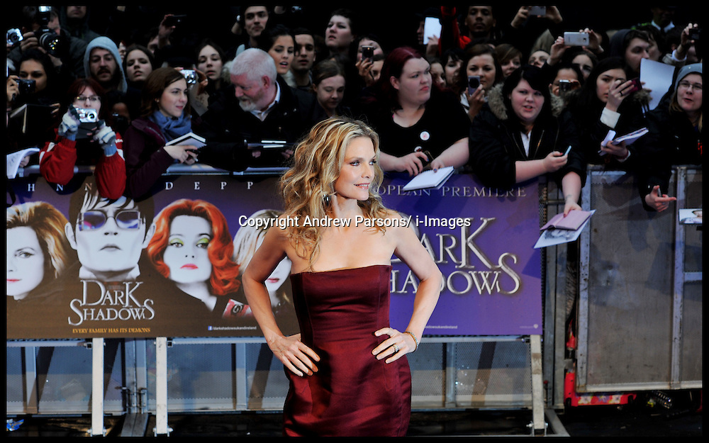 Michelle Pfeiffer attends the UK premiere of 'Dark Shadows' at Empire Leicester Square, May 9, 2012, Wednesday May 9, 2012. Photo By Andrew Parsons/ i-Images