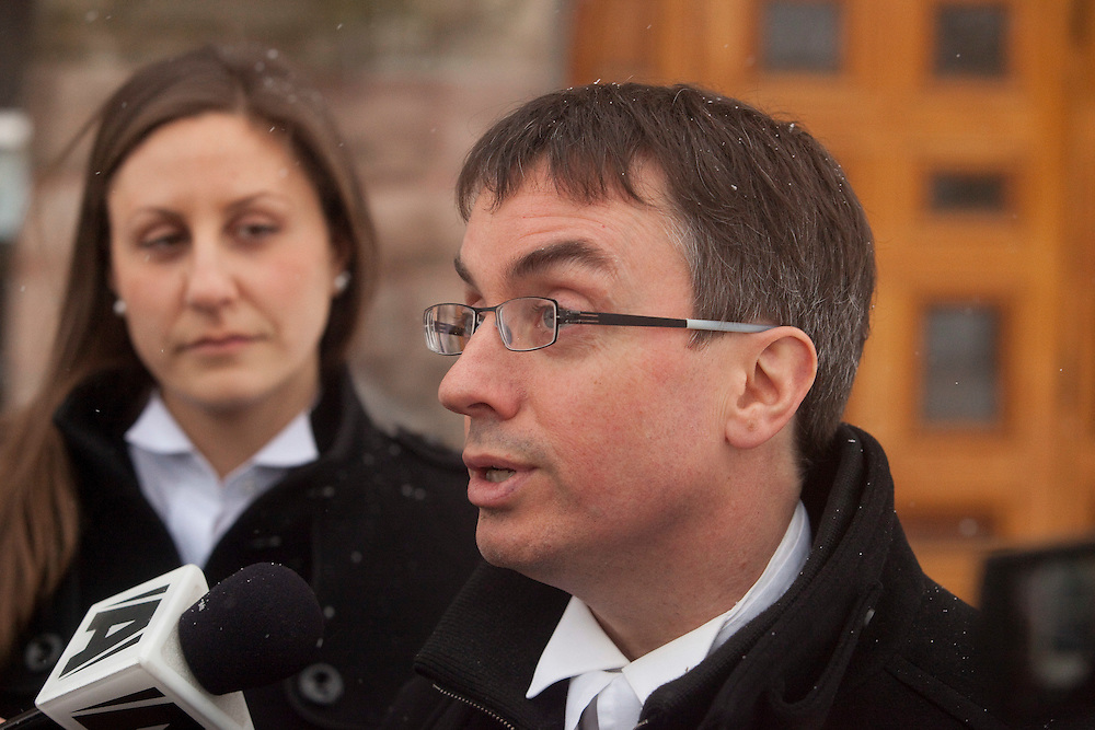 Woodstock, ONT.: February 7, 2011 --  Dirk Derstine, the lawyer for Michael Rafferty, accused in the murder of 8 year old Victoria Stafford, speaks to the media after a court appearance in Woodstock, Ontario.<br /> (GEOFF ROBINS/ Postmedia News)