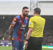 Joel Ward of Crystal Palace gets a talking to from the referee during the Barclays Premier League match between Crystal Palace and Chelsea at Selhurst Park, London, England on 3 January 2016. Photo by Ken Sparks.