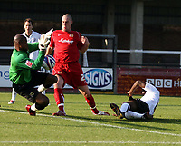 Photo: Mark Stephenson.<br /> Hereford United v Milton Keynes Dons. Coca Cola League 2. 20/10/2007.Hereford's Toumani Diagouraga  (R)  comes close to scoring in the first half