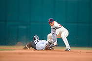 Jermaine Dye slides into second base with a double before a tag by Asdrubal Cabrera.<br /> The Cleveland Indians defeated the Chicago White Sox Monday, March 31 at Progressive Field in Cleveland. The Indians defeated the White Sox 10-8.